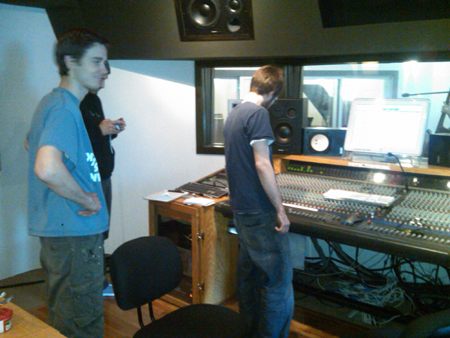 Engineers Raf, Pavel, and Tim excited to be working in the new studio